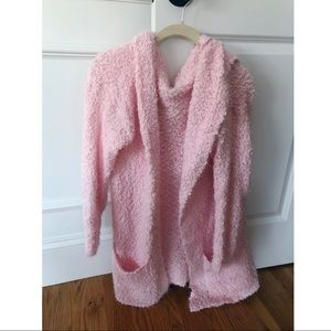 Softest pink cardigan with hood